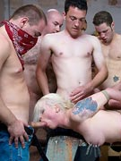 Blonde submissive slut forced to fuck with a group of guys