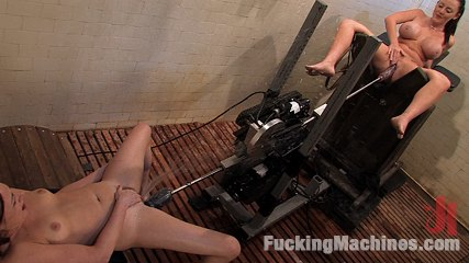 Lesbians Sindee Jennings and Sophie Dee get fucked by rough machines from Fucking Machines