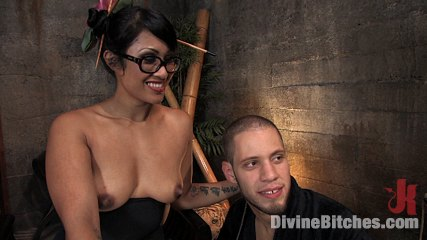 Asian dominatrix DragonLily strap on fucking Wolf Hudson's ass from Divine Bitches